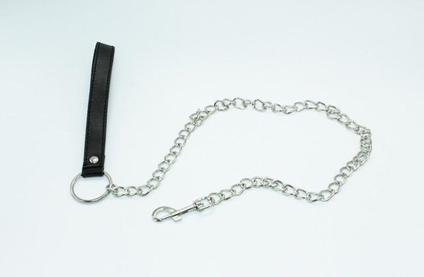 Leather Ring Steel chain Sex Collar&Leash