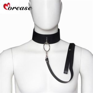 Leather Slave Bondage Collar and leash Neck Dog Collar
