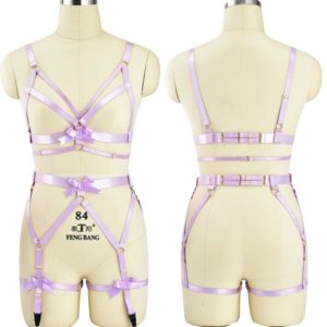 Fetish purple Bow Body Harness Bdsm Bondage