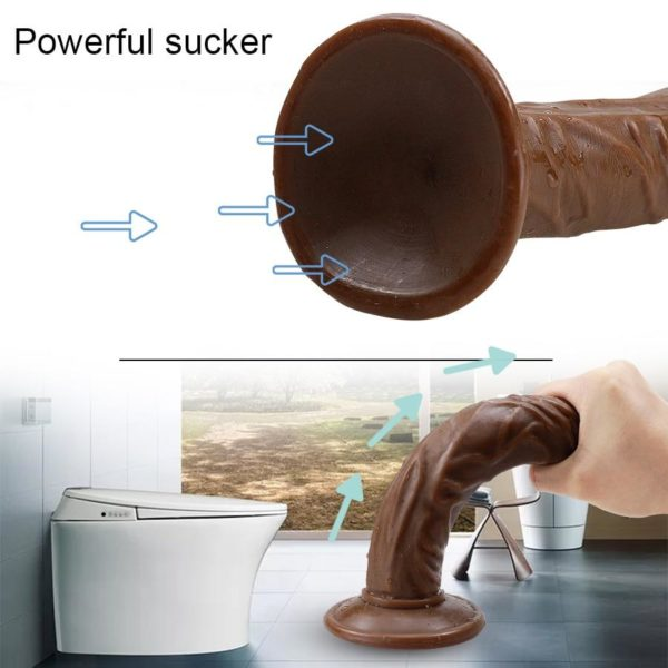 Silicone Brown Dildo with Suction cup